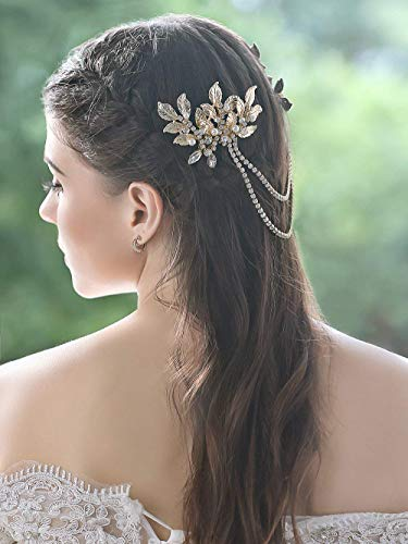 Aukmla Gold Bridal Wedding Pearl Crystal Hair Drape Vintage Sthle Hair Chain Grecian Leaves Bohemian Bridal Hairpiece Bride Wedding Hair Combs Bridal Decorative Hair Accessories for Women