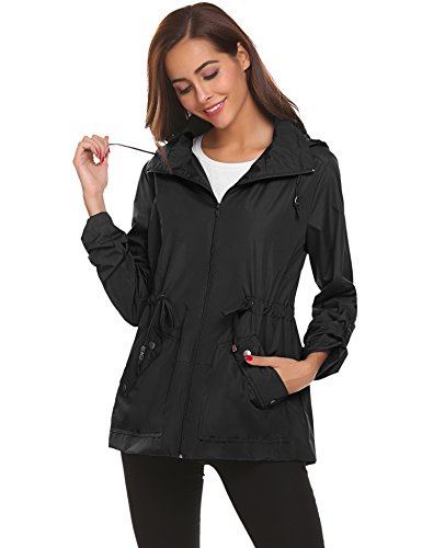 Abrigo Negro para Mujer Ligera Chaqueta Gabardina Resistente con Lomon al de Impermeable Viento Capucha Lluvia qxOw6SH