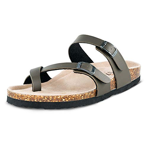 TF STAR Adjustable Mayari Flat Leather Casual Sandals for Women & Ladies, Youth Suede Slide Cork Footbed for Teenagers/Girls (7B(M)(EU38), Khaki)