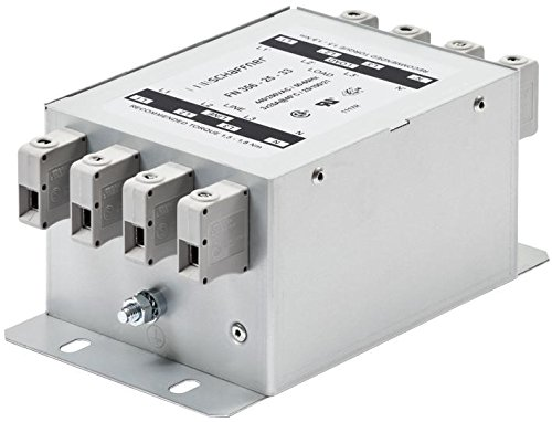 Power Line Filter, Chassis, 2 µF, 440 VAC, 36 A, 3 Phase + Neutral Line, Quick Connect, 950 µH by Schaffner