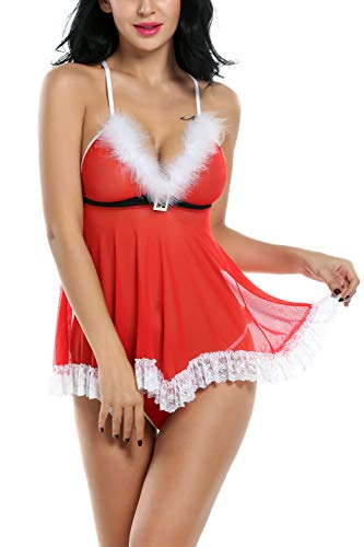 Avidlove Womens Christmas Lingerie Red Santa Babydolls Chemises Set -