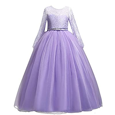 IWEMEK Girls' Tulle Flower Lace Wedding Bridesmaid Dress Long Sleeve Sweetheart Formal Floor Length Evening Gown
