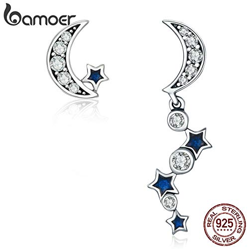 (Authentic 925 Sterling Silver Crescent Half Moon & Star Dazzling Blue CZ Drop Earrings for Women Jewelry Bijoux SCE127)