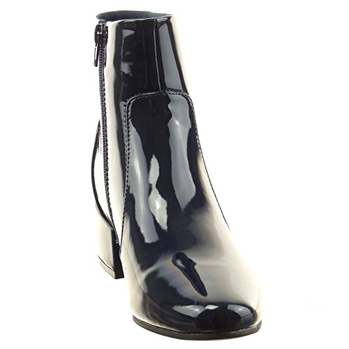 Sopily - Zapatillas de Moda Botines cavalier Tobillo mujer brillantes Talón Tacón ancho 4.5 CM - Azul