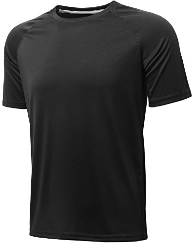 Top Short Training Sleeve (Komprexx Sport T-Shirts for Men - Quick Dry Wicking - Running Tops Training Tee Short Sleeve Sportswear(Black,XL))