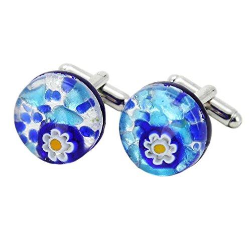 Glass Venetian Classic Round Cufflinks - Aqua Blue ()