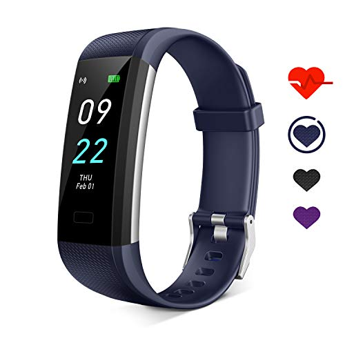 Ceilein Fitness Tracker HR, Activity Tracker with Heart Rate Monitor, Sleep Monitor, Step Counter, Calorie Counter,IP68 Waterproof Smart Pedometer Watch for Men Women Kids (Blue)