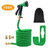 Gpeng 100 Feet Garden Hose, Expanding Hose Stretch Hosepipe, 8 Functions Sprayer,Strongest Expandable