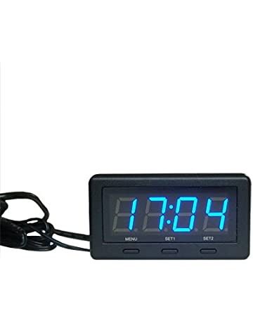 3 in 1 Digital LED azul 12V/24V Voltaje Temperatura de Reloj Termómetro interior/