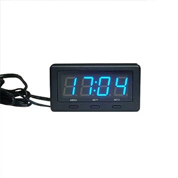 3 in 1 Digital LED azul 12V/24V Voltaje Temperatura de Reloj Termómetro interior/exterior digital Monitor de Batería Medidor Automático Coche Encendedor de ...