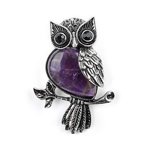 CrystalTears Vintage Owl Brooch Pins Spiritual Energy Gemstone Healing Crystal Rhinestone Brooch for Women Men Wedding Banquet