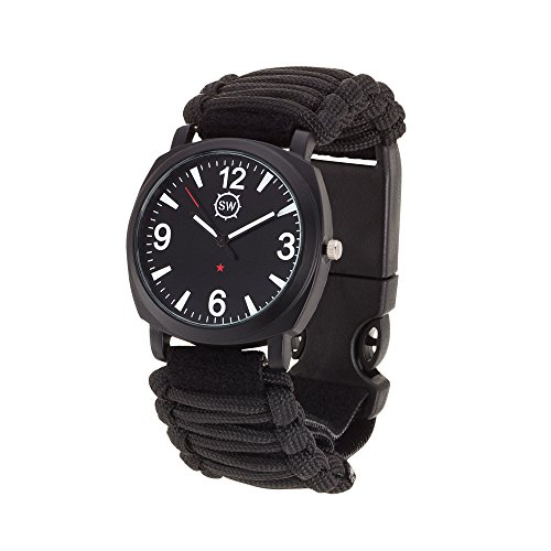 Survival-Watch-Ultimate-Emergency-Tool-For-Men-Women-Features-Military-Grade-Paracord-Compass-Whistle-Fire-Starter-Battery-Powered-Analog-Watches-Highest-Quality-Survival-Gear-Water-Resistant-Adjustab