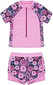 Moily Kids Girls Floral Print 2 Piece Swimsuit Short Sleeve Swim Shirt Drawstring Boyshorts Bathing Suit