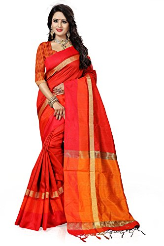 Designer Sarees Woven Work Cotton Silk Saree for women With Unstitched Blouse Piece (Red)