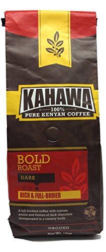 KAHAWA Kenya Coffee, Dark Roast, Ground Coffee, 100% Arabica Coffee, Kenya AA, Specialty Coffee, Premium Coffee, Single Source Origin, Direct Fair Trade, 12 Ounce
