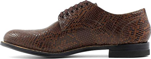 Stacy Adams Madison 00079 Hombres Oxford Cognac Python Print Leather