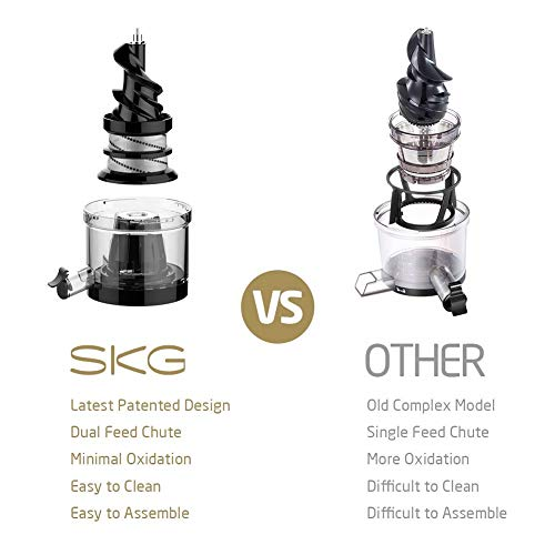 SKG Cold Press Juicer High Yield Juice Extractor, Quiet Anti-Oxidation Easy to Clean 36 RPM 250W AC...