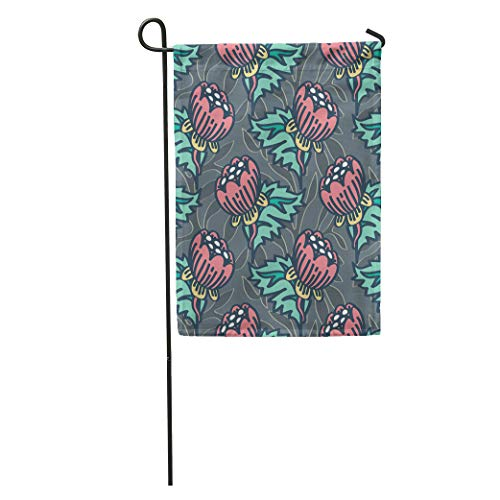 - Semtomn Garden Flag Flower William Morris Inspired Pattern Medieval Home Yard House Decor Barnner Outdoor Stand 28x40 Inches Flag