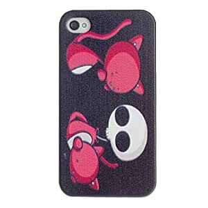 JOE Scary Red Cat Pattern PC Hard Case with Black Frame for iPhone 4/4S