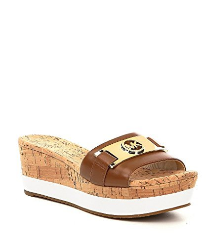 Open Sandals Kors Michael Toe (Michael Michael Kors Womens Warren Platform Open Toe Casual Slide Sandals (8.5 B(M) US, Luggage Leather))