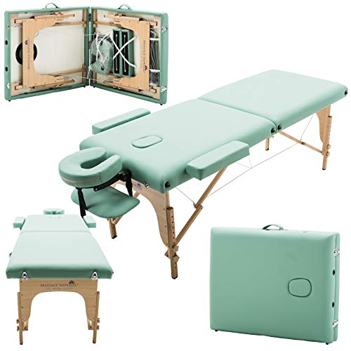 Massage Imperial Light Green 2-Section Portable Massage Table Bed Couch Spa