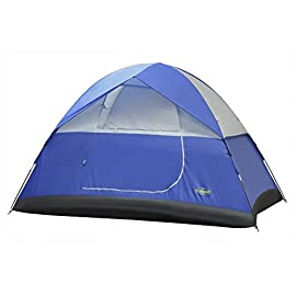 "Stansport Pine Creek Dome Tent 122 Dome tent size: 8' X 7' X 54"" Features shock-corded fiberglass poles, inside gear pocket and rain fly attachment Steel ring and pin pole connectors"