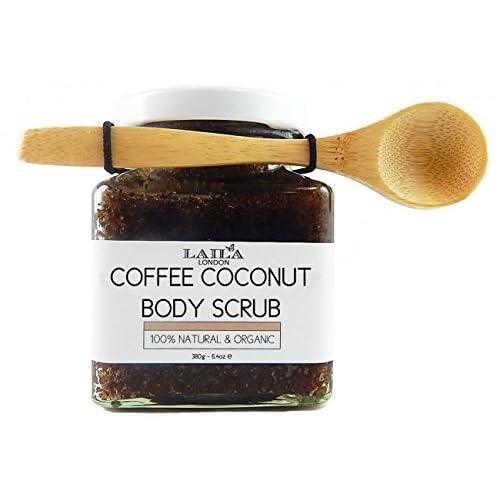 Laila London Organic Arabica Coffee & Coconut Body Scrub 100% Natural With Bamboo Spoon 350g Stretch Marks & Cellulite, Exfoliating Body Scrub - Soften Skin - Smooth Skin Before Tanning - Improve Circulation, Stimulat