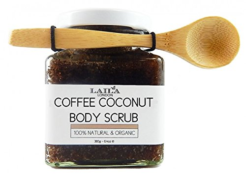 Laila London Organic Arabica Coffee & Coconut Body Scrub 100% Natural With Bamboo Spoon 350g Stretch Marks & Cellulite, Exfoliating Body Scrub - Soften Skin - Smooth Skin Before Tanning - Improve Circulation, Stimulate Collagen and Fight Aging - Re
