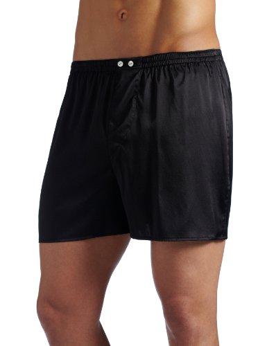 Intimo Men's Classic Stretch Silk Boxers, Black, Medium