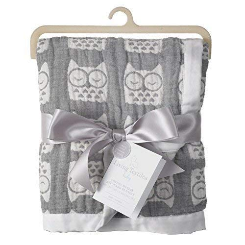 Living Textiles Muslin Jacquard Blanket with Grey Owls. Double-Layered Muslin Jacquard 100% Cotton Baby Blanket (40x30 inch)
