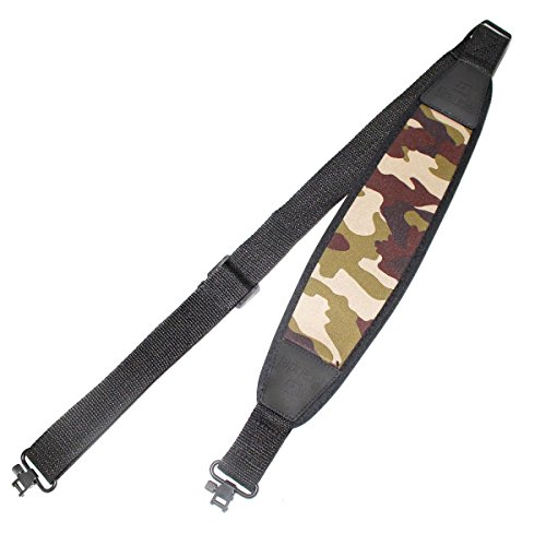 Braudel Rifle Slings - 2 Point Sling with Mil-Spec Swivels - Wide Stretch Neoprene Pad - Length Adjuster - Perfect for Hunting, Tactical Shooting