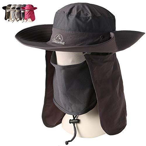 (Peicees Wide Brim Fishing Sun Hat Cowboy Bonnie Bucket Hat Safari Cap with Detachable Neck and Face Flap for Men Women Girls and Boys(Dark Gray))