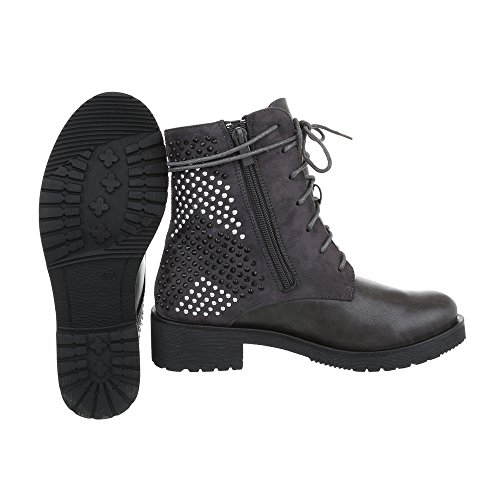 Ital-Design Schnürstiefeletten Damenschuhe Klassischer Stiefel Blockabsatz Schnürer Reißverschluss Stiefeletten Grau