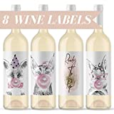 Ready To Pop Baby Shower - Bubble Gum Animals Wine Bottle Labels Pink & Gold Shower Decor | Present for Mother-To-Be Pregnant Woman Hipster Baby Animals DIY Wine Bottles for Gift Basket Made in USA