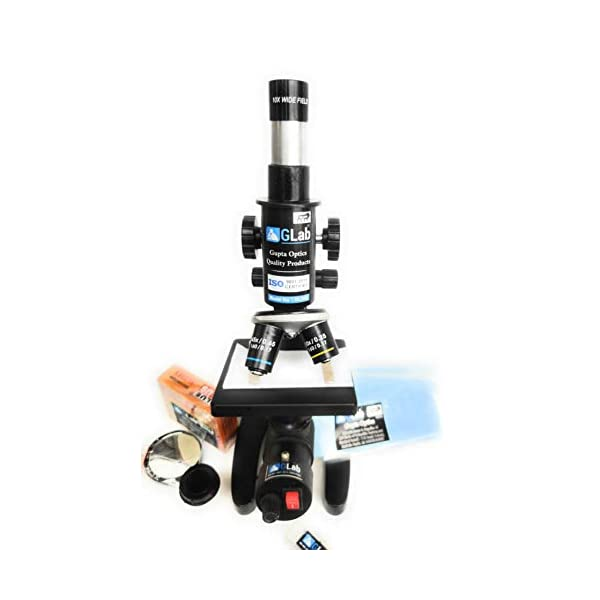 G Lab Compound Student Microscope With LED LAMP,50 BLANK N TWO PREPARED SLIDES ISO 9001:2015 CERTIFIED 6