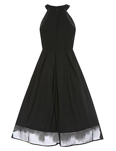 PU&PU Robe Aux femmes Swing Sexy / Vintage,Couleur Pleine Col Arrondi Mi-long Coton , black-2xl , black-2xl