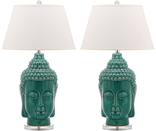 Safavieh Lighting Collection Serenity Buddha Teal 31-inch Table Lamp (Set of ()
