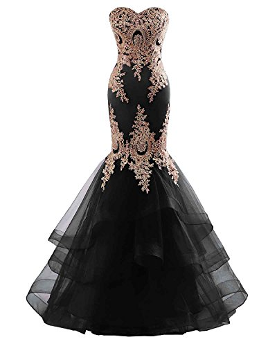 Changuan Mermaid Evening Dress For Women Backless Formal Long Prom Dresses With Embroidery Black-24