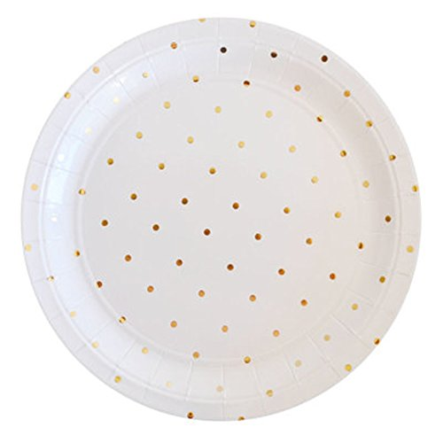 SOCOSY Metallic Gold Polka Dot Round Paper Plates Disposable Plates Paper Dessert Plates for Party Birthday Wedding Catering - 7' Pink Dessert Plates Paper