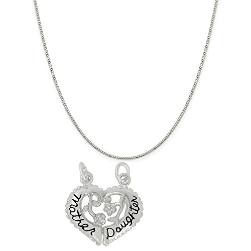 Sterling Silver Break Apart Mother Daughter Heart Charm on an 18