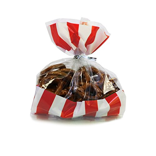 Gift Expressions Beautiful Polka Dot and Striped Party Plastic Favour and Giveaway Bag, Pack of 24 (Small, Stripes Red) -