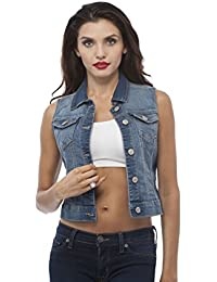Sleeveless Button up Jean Denim Jacket Vest