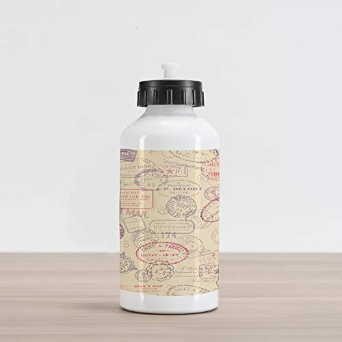 Ambesonne Vintage Aluminum Water Bottle, Retro Design Inspired Postage Illustration with Beige Background Antique Stamps, Aluminum Insulated Spill-Proof Travel Sports Water Bottle, Multicolor ()