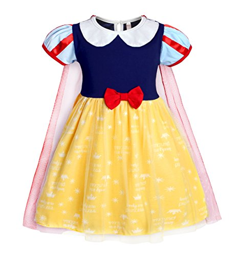 Jurebecia Baby Girls Snow White Dress Princess Dress up Toddler Nightgowns with Tulle Cape Size -