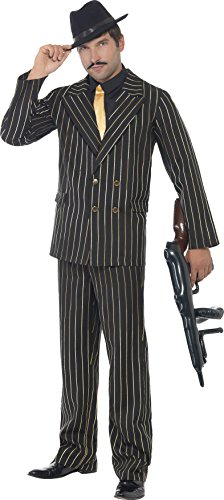 Costumes 20s Gangster Boys (Smiffy's Men's Gold Pinstripe Gangster Costume, Jacket, pants, Shirt Front and Tie, Black, with Jacket, pants, Shirt Front and Ties, 20's Razzle Dazzle, Serious Fun, Size M,)