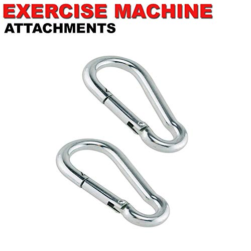 FITNESS MANIAC USA Home Gym Cable Attachment Handle Machine Exercise Chrome PressDown Strength Training Home Gym Attachments Barbell Deluxe Steel Carabiner Spring Snap Link Hook by FITNESS MANIAC (Image #2)