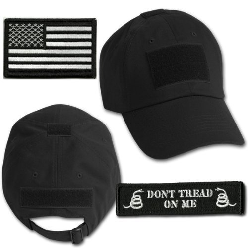 (Gadsden and Culpeper Operator Cap Bundle - w USA/Dont Tread Patches (Black)