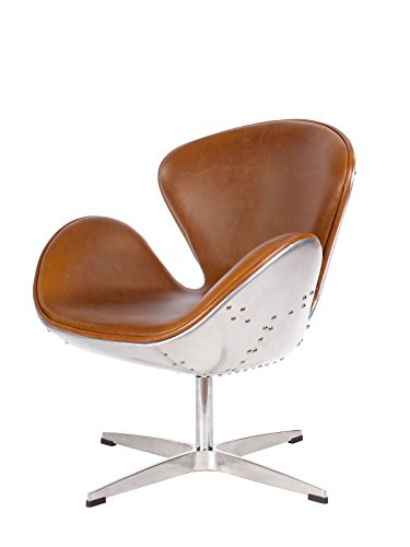 Hand Hammered Aluminum Aviator Mid Century Modern Classic Arne Jacobsen Style Swan Replica Chair With Premium Vintage Caramel Brown PU Leather and Polished Aluminium Frame
