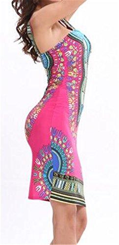 Womens Strapless Bodycon Print Rose Tank Ethnic Cromoncent Boho Dress Red Skinny O7wxgqn