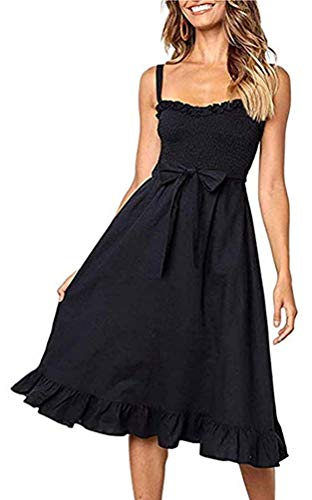 Womens Dresses Summer Beach Sunflower Floral Midi Sundresses Boho Spaghetti Strap Button Down Dress with Belt Pockets (Medium, Solid Black1) ()
